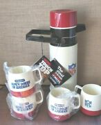 Vintage New Nos 1978 --nfl-- Thermos + 4 Cups - Stanley Tools - Usa