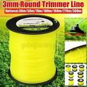 30m-300m Round Brushcutter Strimmer Trimmer Cord Line Wire 3mm Yellow For Stihl