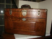 Antique Tiger Oak Gerstner And Sons Machinist Oak Tool Box 7 Drawers 20 X 12 X 9