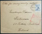 Nwpi New Guinea On Australia 2andfrac12d Cover To Holland Containing Enemy Letter