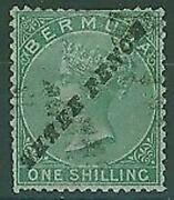 Bermuda Sg13 3d On 1s Green Queen Victoria Some Perforations Clipped. Used