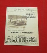 Advertising Pub Publicite Ancienne Advert 23.2 Alsthom Tungar And Oxycuivre Auto