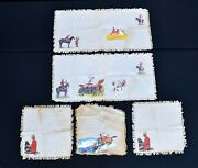 2 Vintage Hand Painted Indians Royal Canadian Mountie Table Runners And 3 Napkins
