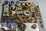 Lot Of Vintage Pins, Key Chains, Necklaces,earings .more Than 50