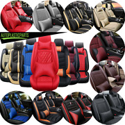 5 Seats Car Seat Covers Universal Fit Deluxe Pu Leather Full Set W/ Pillow 14pc