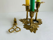 Set Of2. Vintage Brass Candle Holder And Candle Snuffer. Dark Akademia.
