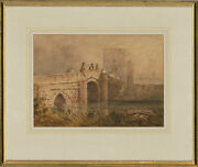 Early 19th Century Watercolour - Bridge By The City Walls