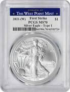 2021-w 1 American Silver Eagle Type 1 Ms70 Fs Pcgs Struck At West Point Label