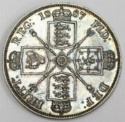 1887 Great Britain Double Florin Silver Coin With Arabic I Choice A/unc