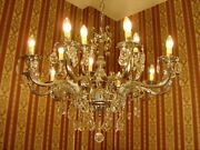 Nickel Crystal Glass Chandelier Ceiling Silver Lamp 15 Lights Used Decor Ø 33