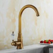 Antique Bronze Swivel Kitchen Sink Faucets Hot Cold Water Mixer Tap 360 Rotate