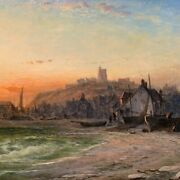 Rare Antique Oil Painting Whitby Bay 1881 Signed By George Augustus Williams Gil