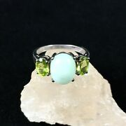 Vintage Sterling Silver Ring Jade Style Stone Green Accents Sz 7 Ornate Signed