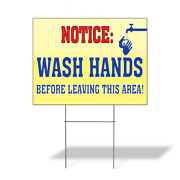 Weatherproof Yard Sign Wash Hands Before Leaving This Area Lawn Garden