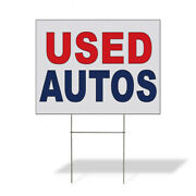 Weatherproof Yard Sign Used Autos Red Blue Auto Car Repair Shop Lawn Garden