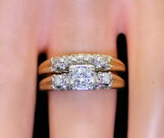 Antique Estate 14k Gold .25 Ct Sol Rb Diamond W/ .14 Ct Accents Ring And Band Set