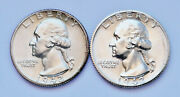 Lot Of 2 - 1942-s U.s Washington Silver Quarters Almost Uncirculated Plus Cond