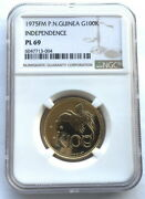 Papua New Guinea 1975 King 100 Kina Ngc Pl69 Gold Coinrare