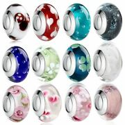 Glass Beads White Murano Fit Bracelet Pendant Silver Plated Colorful Charm Diy