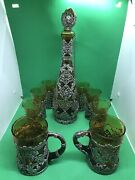 Antique Style German Or Russian 800 Silver Over Glass Decanter Set Tankards Cup