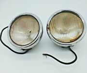 Model A Ford 1928-1929 Vintage Pair Stainless Steel Cowl Lights