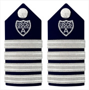 Genuine U.s. Coast Guard Auxiliary Hard Shoulder Board Vco And Rco 4 Stripes And S