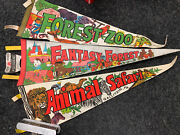 3 Old Forest Zoo, Fantasy Forest And Animal Safari Gallitzin Pa. Felt Pennant Lot