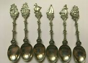 6 Historic Ship Antique Silver Spoons Marked Holland America Hh90 Weigh 72g