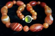 One Of A Kind - Chinese Large Jade Red Dzi Eye Agate Necklace 24 1/2 209.3 G