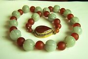 Amazing Estate Chinese Vintage Carved Hetian Jade Carnelian Necklace 25 187g A