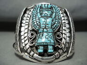Incredibly Intricate Hand Carved Turquoise Sterling Silver Kachina Bracelet