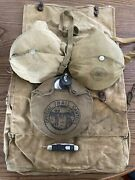 Large Set Of Boy Scout Equipment Large Bag, Water Canteen, Mess Kit, Knife