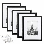 9x12 Picture Frame Set Of 5display Pictures 6x8 With Mat Or 9x12 Without Mat