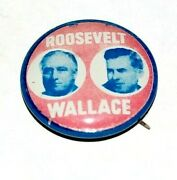 1940 Franklin Roosevelt Fdr Henry Wallace Campaign Pin Pinback Button Political