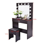 Us Vanity Set W/lighted Mirror Cushioned Stool Dressing Table Makeup Table Hot