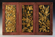 19th C., Rattanakosin, A Set Of Antique Thai Wooden Panels With Flower Design