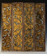 19th C. Rattanakosin A Set Of Antique Thai Wooden Panels With Flower Design