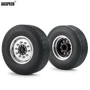 2pcs Alloy Front Beadlock Wheel Rims And Tire Tyres For Rc 1/14 Tamiya Tractor Car