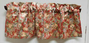 Custom Red Floral Valances-covington-50 By 18-lined-4 Available-cabbage Roses
