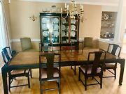 Vintage Chin Hua Dining Table With 8 Chairs And Hutch, 2 Leaf Inserts, W/ Pads
