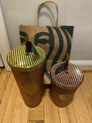 2x Starbucks 50th Anniversary 16oz And 24oz Studded Gold/copper Tumbler In Hand
