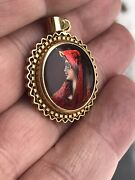 Antique Enamel 20ct Yellow Gold Limoge Pendant Miniature Painting Of French Lady