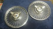 Two 1963 1964 Ford Galaxie Wire Spoke Spinner Hubcaps. As Is.