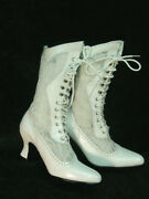 Oak Tree Farms Ivory Lace And Leather Vesper Old West Granny Vintage Boots 7.5