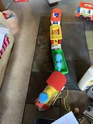 Vintage Lot Of 6 Fisher Price Circus Train Set With Train That Toots,freight Car