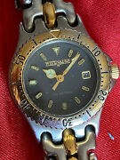 Women's Wittnauer Diver Date Watch Black Dial 100m New Battery Nice Watch