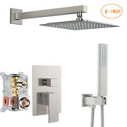 8-inch Shower Faucet System Set Brushed Nickel Rainfall Shower Head Mixer Valve