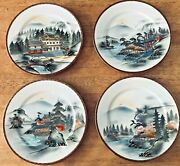 Iwane China 4 Dinner Plates Hand Painted In Japan Different Scene On Each