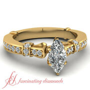 1 Ct Marquise Cut And Round Diamond Simple Vintage Engagement Ring In Yellow Gold