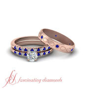 One Carat Blue Sapphire And Diamond Round Cut Trio Wedding Rings Set For Couple